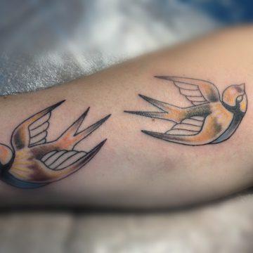 Tatouage oiseaux en couleurs