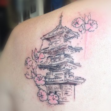 Tatouage temple japonais